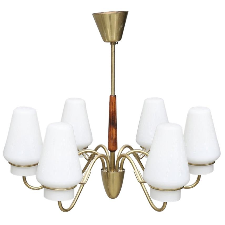 Brass Chandelier with Opaline Glass Shades