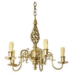 Brass Chandelier with Open Spiral Centre