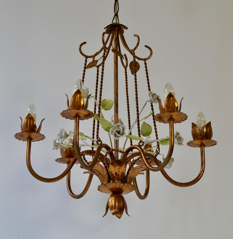 Hollywood Regency Brass Chandelier with Porcelain Flowers For Sale