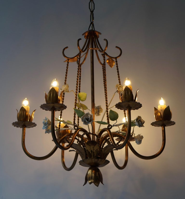Italian Brass Chandelier with White Porcelain Flowers For Sale