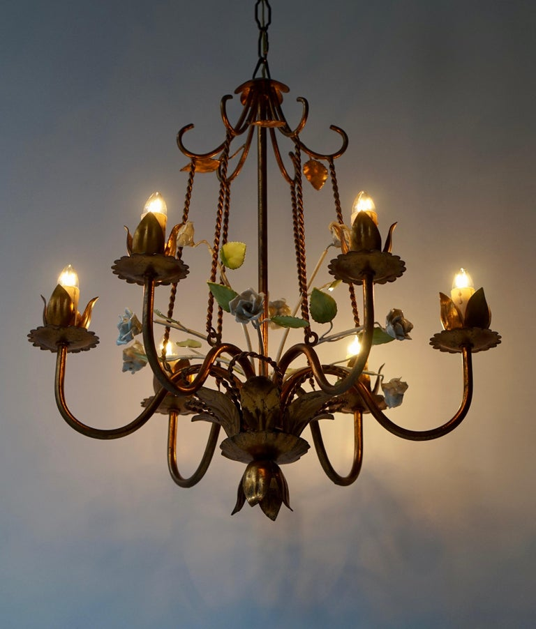Gilt Brass Chandelier with White Porcelain Flowers For Sale