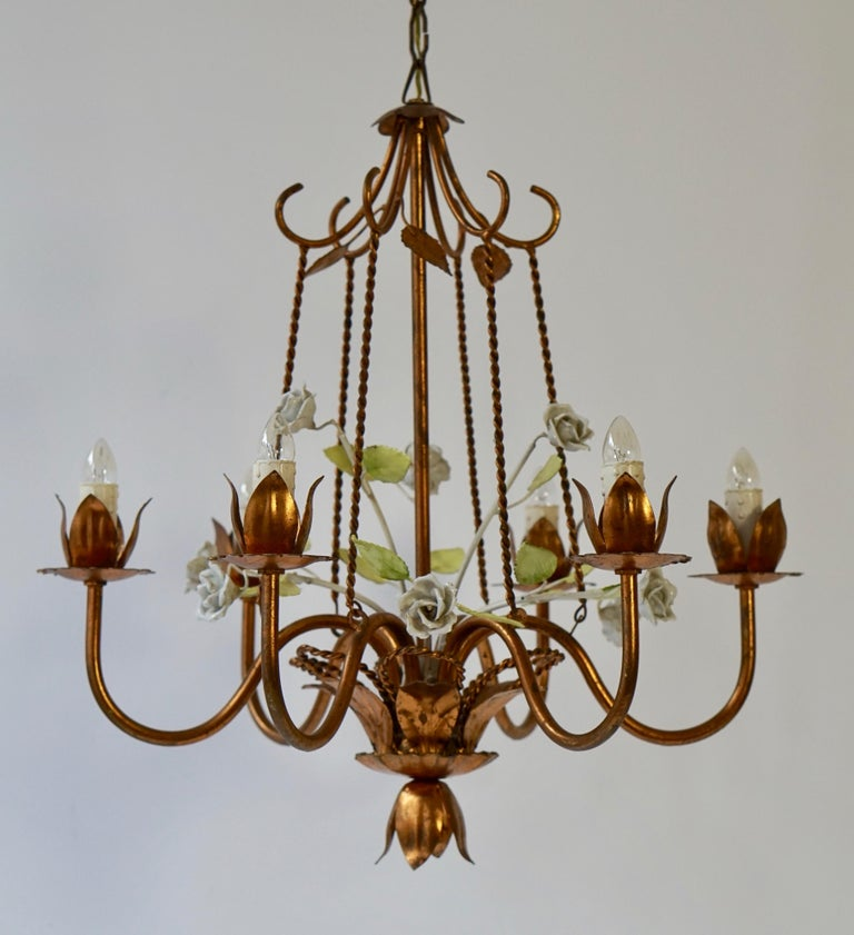 20th Century Brass Chandelier with Porcelain Flowers For Sale