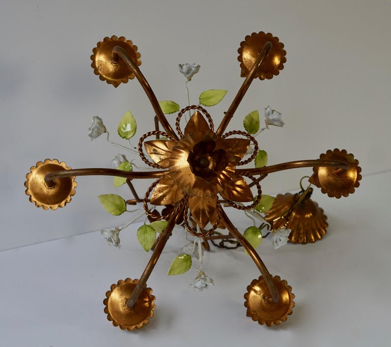 Brass Chandelier with White Porcelain Flowers For Sale 1