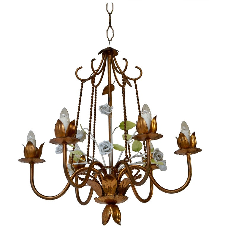 Brass Chandelier with Porcelain Flowers For Sale