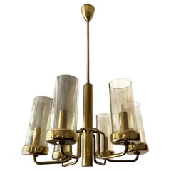 Brass Chandelier with Six Cylindrical Glass Globes, 1960s
