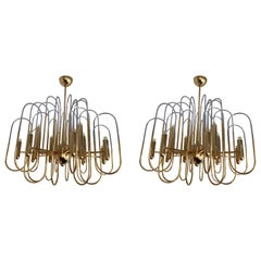 Brass Chandeliers Astrolab by Sciolari, Italy, 1970s