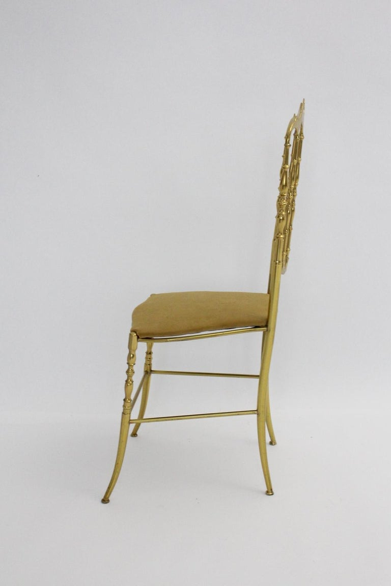 Mid-Century Modern Mid Century Modern Vintage Brass Chiavari Side Chair, 1950s, Italy For Sale