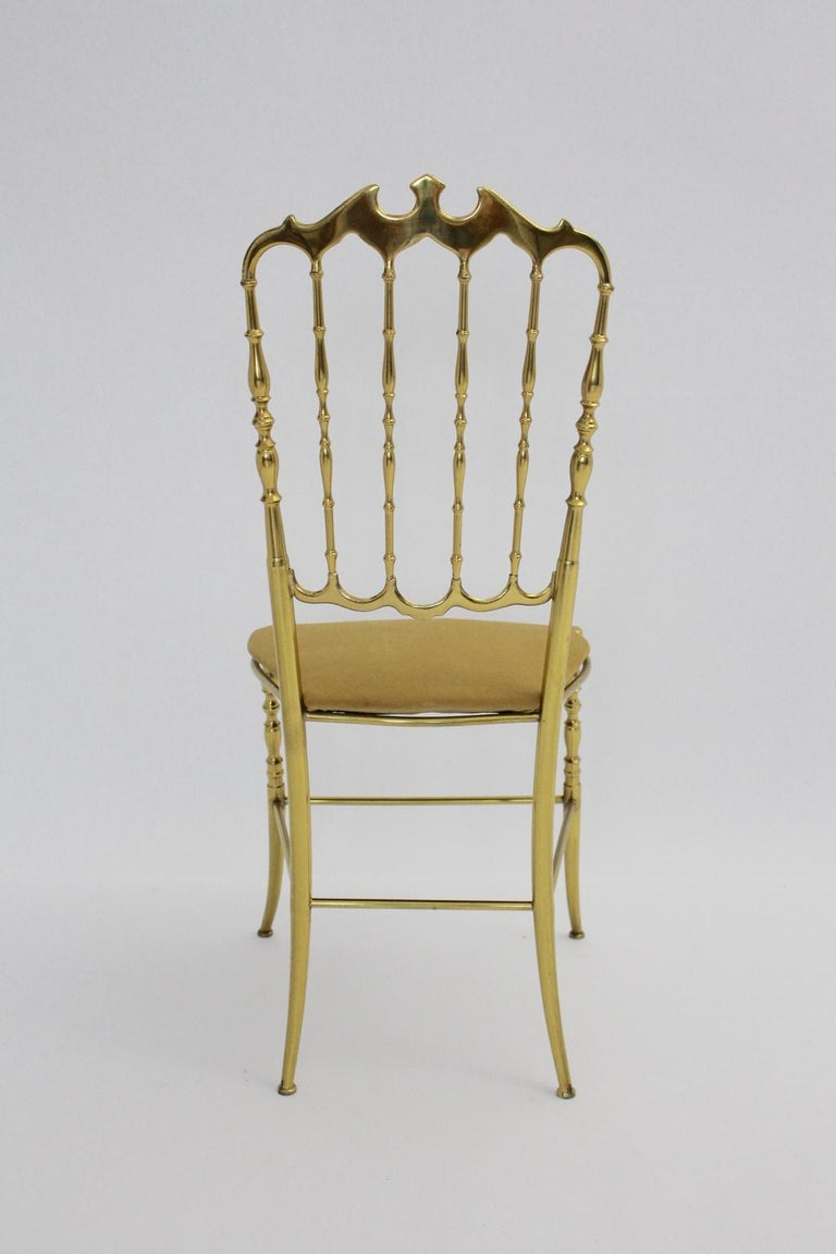 Mid Century Modern Vintage Brass Chiavari Side Chair, 1950s, Italy In Good Condition For Sale In Vienna, AT