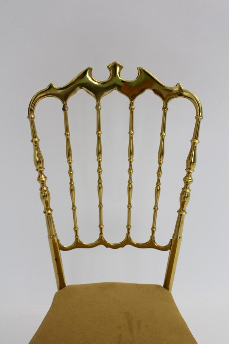 Mid Century Modern Vintage Brass Chiavari Side Chair, 1950s, Italy For Sale 2