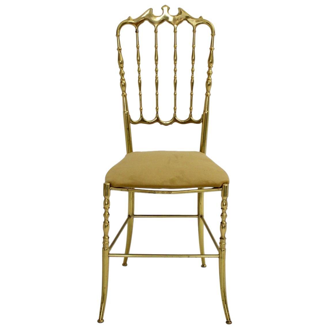 Mid Century Modern Vintage Brass Chiavari Side Chair, 1950s, Italy