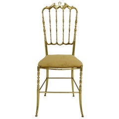 Brass Chiavari Side Chair, 1950s, Italy