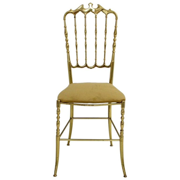 Mid Century Modern Vintage Brass Chiavari Side Chair, 1950s, Italy For Sale