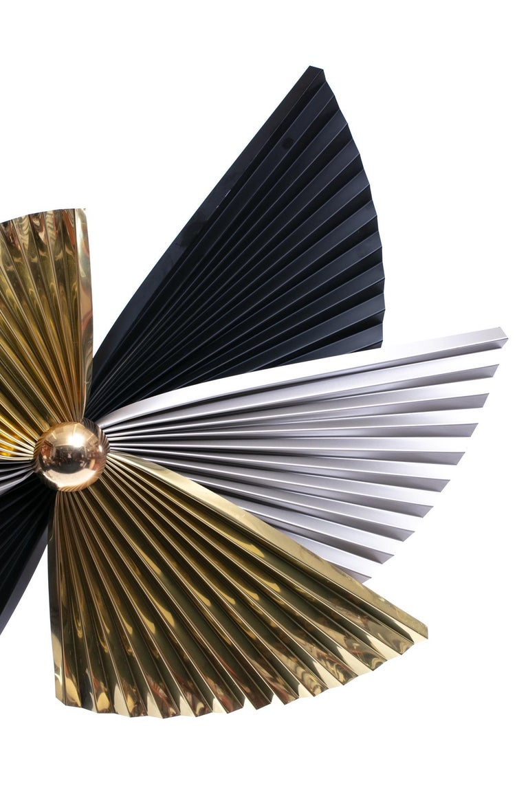American Brass, Chrome and Black Metal Wall Art Attributed to Curtis Jere, circa 1980 For Sale
