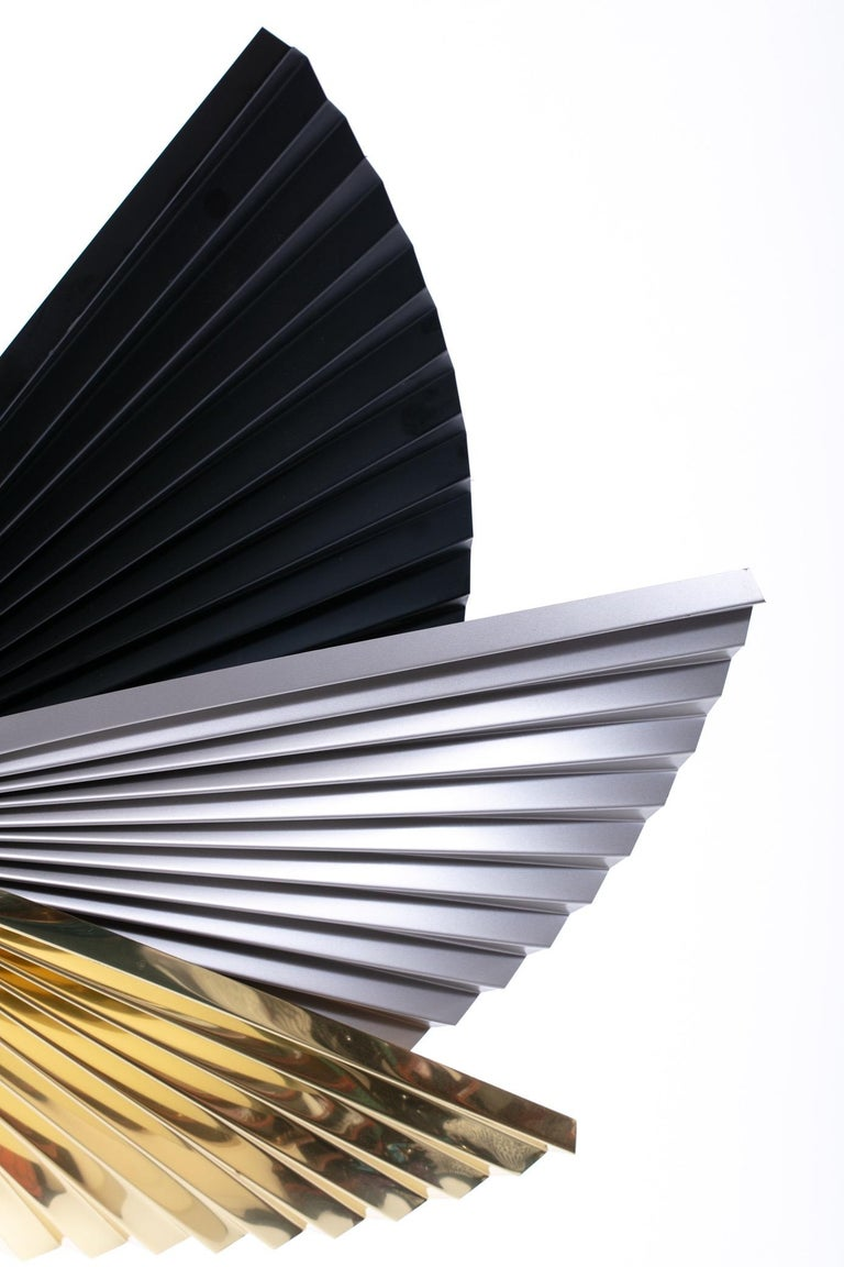 Brass, Chrome and Black Metal Wall Art Attributed to Curtis Jere, circa 1980 In Good Condition For Sale In Saint Louis, MO