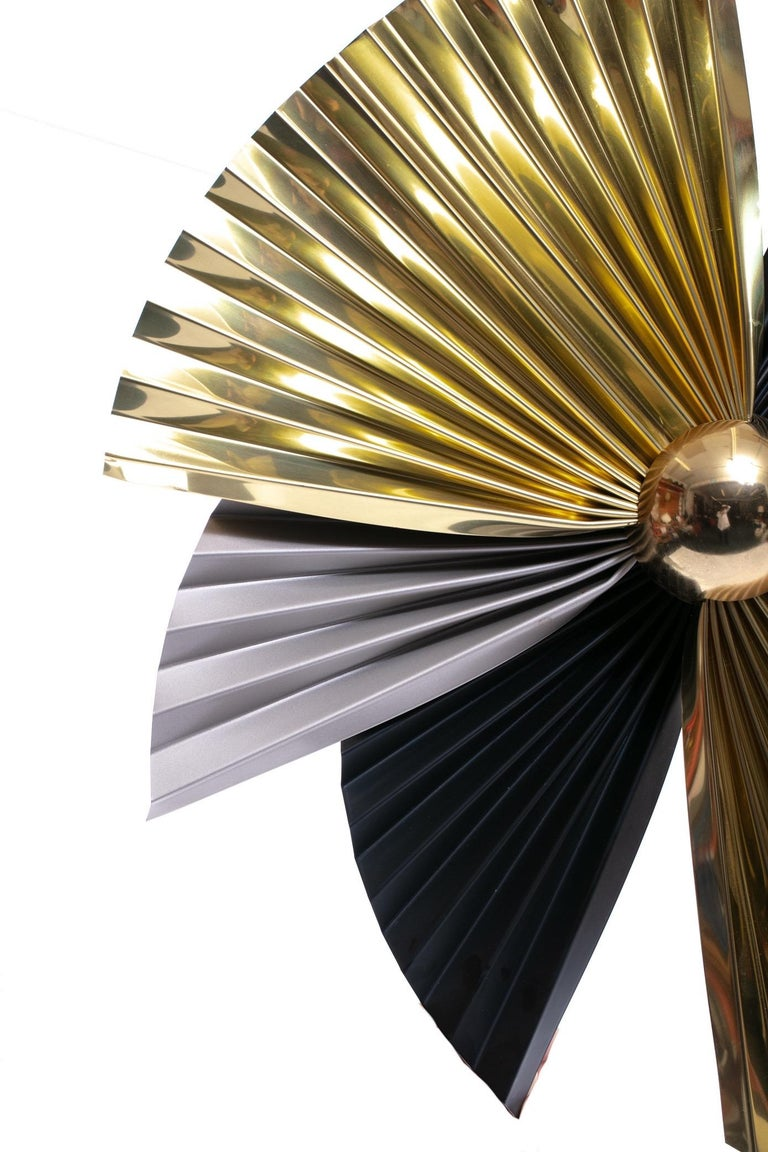 Late 20th Century Brass, Chrome and Black Metal Wall Art Attributed to Curtis Jere, circa 1980 For Sale