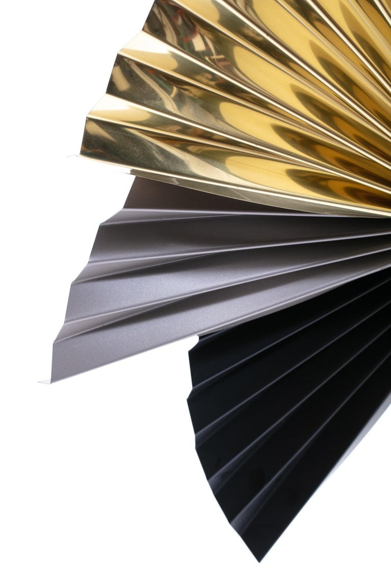 Brass, Chrome and Black Metal Wall Art Attributed to Curtis Jere, circa 1980 For Sale 3