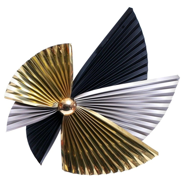 Brass, Chrome and Black Metal Wall Art Attributed to Curtis Jere, circa 1980 For Sale