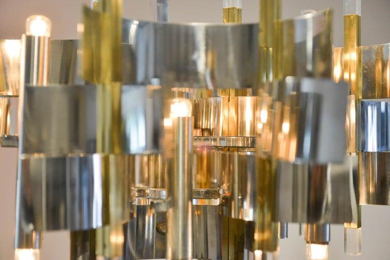 Brass, Chrome and Lucite Chandelier by Gaetano Sciolari, Italy, circa 1970 For Sale 1