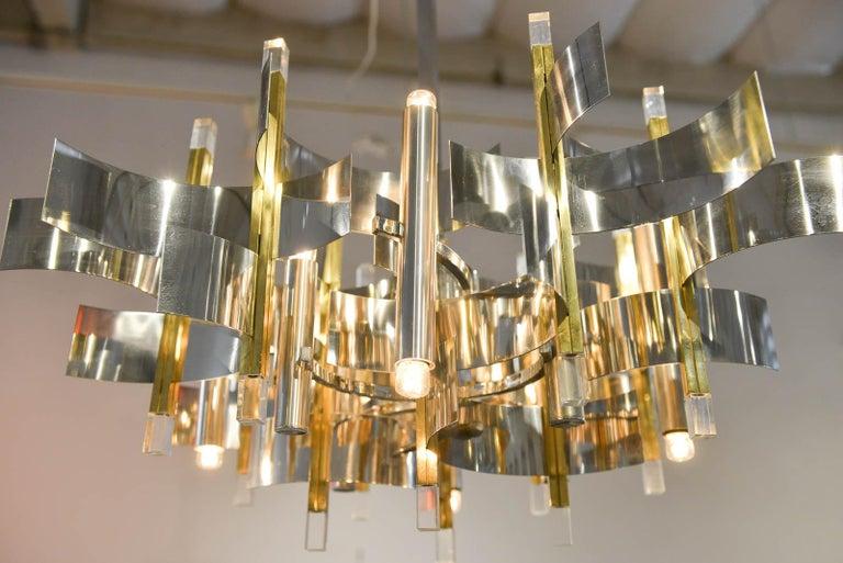 Brass, Chrome and Lucite Chandelier by Gaetano Sciolari, Italy, circa 1970 For Sale 2