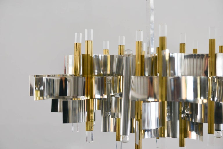 Brass, Chrome and Lucite Chandelier by Gaetano Sciolari, Italy, circa 1970 For Sale 3