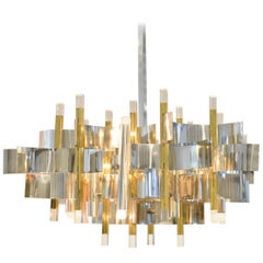 Brass, Chrome and Lucite Chandelier by Gaetano Sciolari, Italy, circa 1970