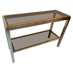 """Brass & Chrome """"Flaminia"""" Console Table by Willy Rizzo, Italy, ca. 1970's"""
