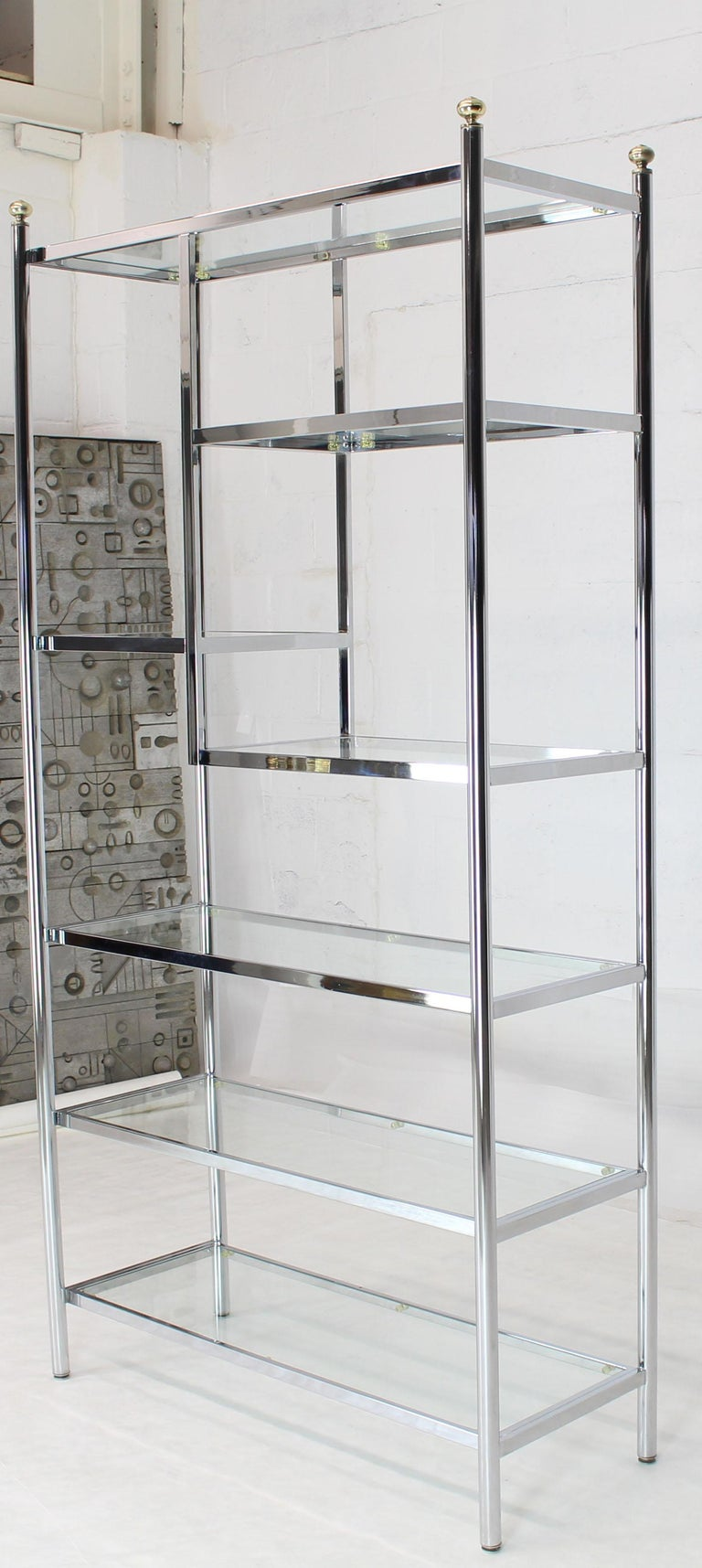 Mid-Century Modern Brass Chrome Glass Large Étagère Shelving Display For Sale