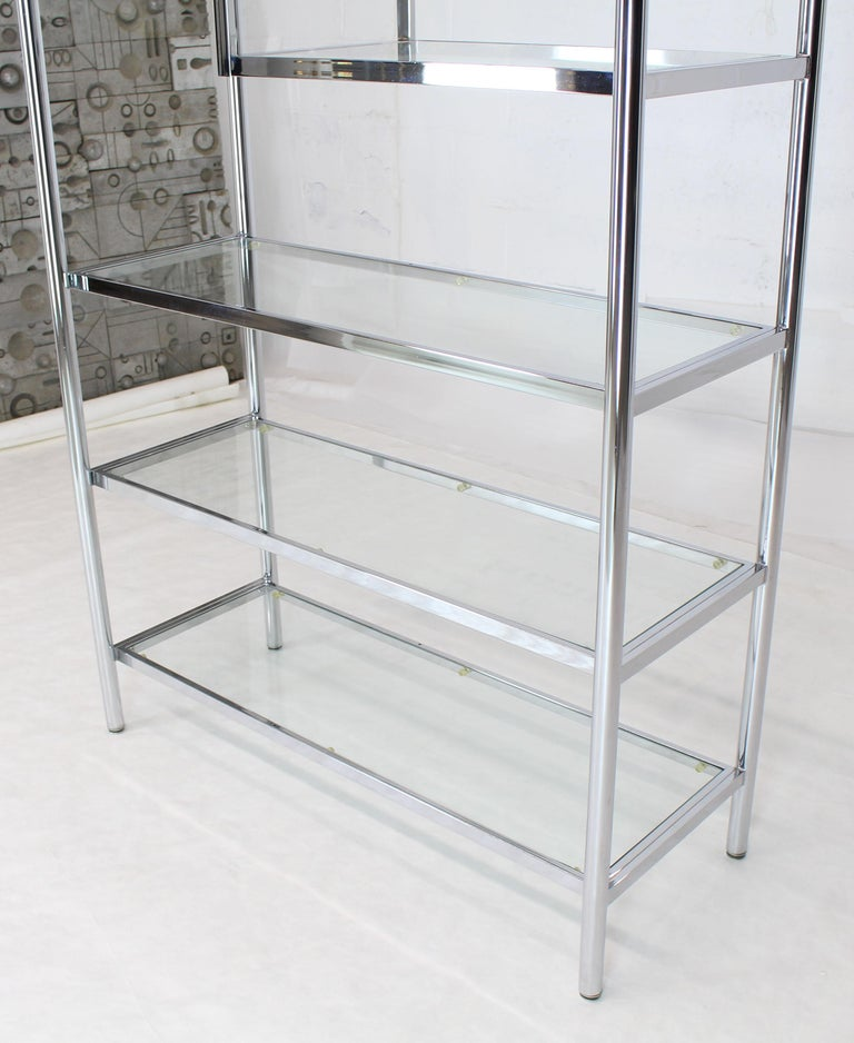 American Brass Chrome Glass Large Étagère Shelving Display For Sale