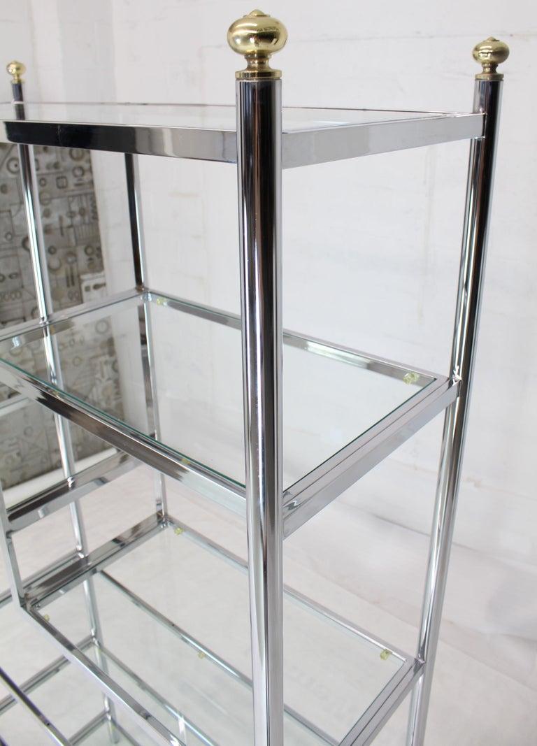 Polished Brass Chrome Glass Large Étagère Shelving Display For Sale
