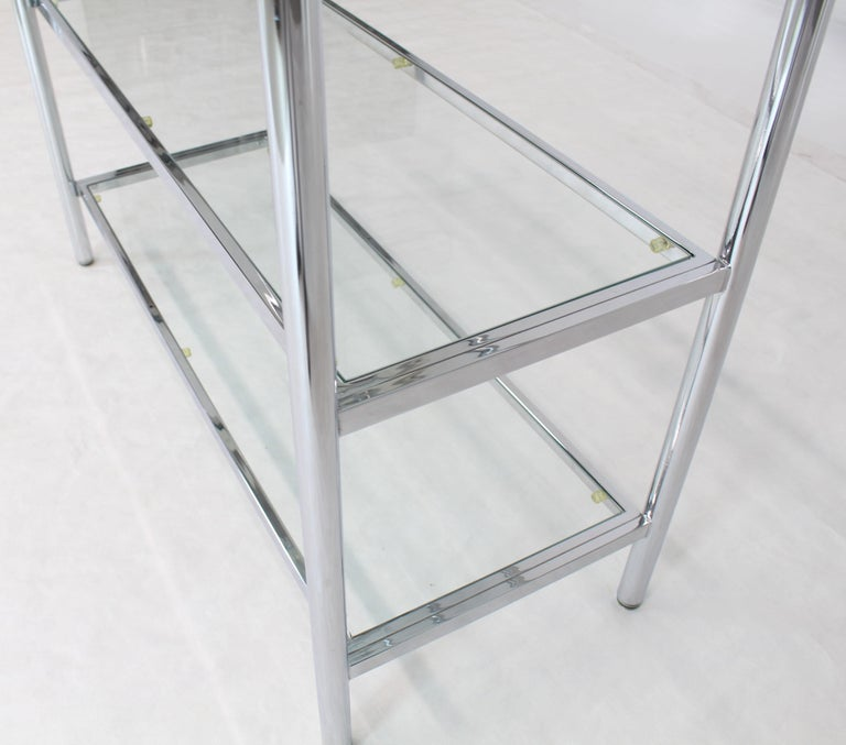 Brass Chrome Glass Large Étagère Shelving Display In Excellent Condition For Sale In Rockaway, NJ