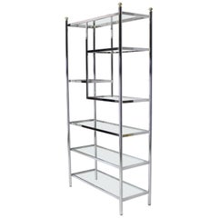 Brass Chrome Glass Large Étagère Shelving Display