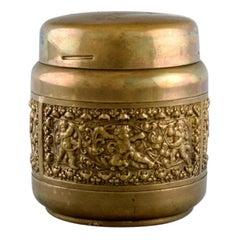 Brass Cigarette Container with Renaissance Ornamentation, Mid-20th Century
