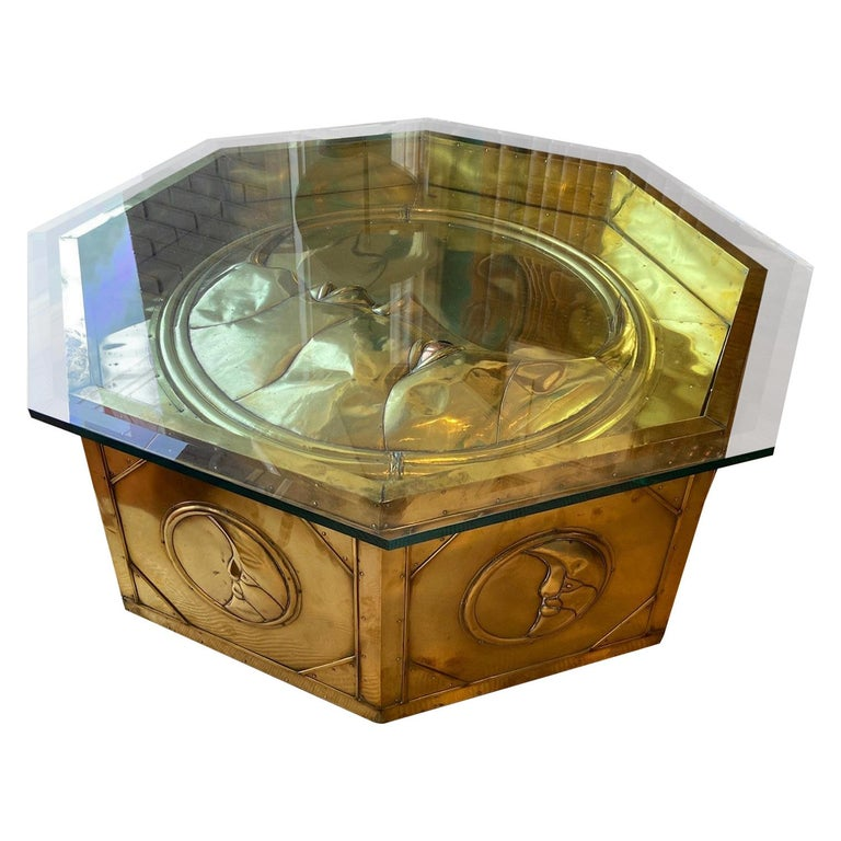 Brass Cladded Octagonal Moon Table by Sergio Bustamante, circa 1970s  For Sale