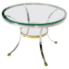 Brass Claw Feet Crome and Brass Glass Round Top Gueridon Center Cafe Game Table