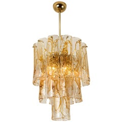Brass Clear and Amber Spiral Glass Chandelier by Doria, 1970