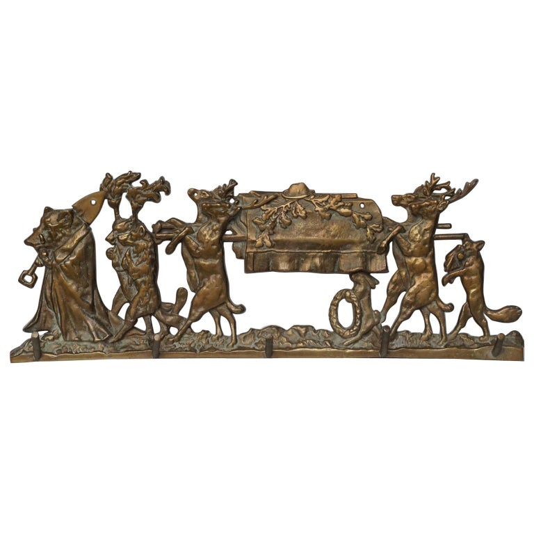Brass Coat Rack 'the Hunters Funeral' Depiction After Moritz Von Schwind For Sale