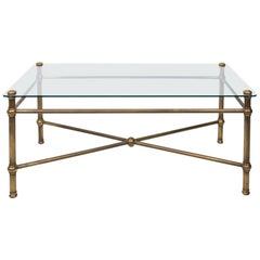 Vintage French Glass Top Brass Cocktail Table