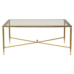 Brass Cocktail Table Smoked-Glass Top on Stretchers Base