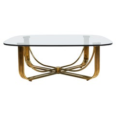 Brass Cocktail Table with a Floating Glass Top
