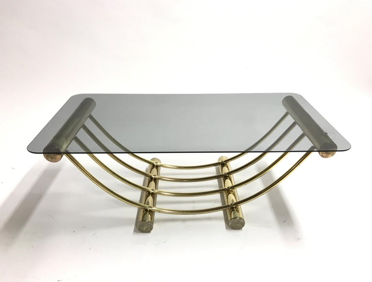 Hollywood Regency Brass Coffee Table, 1970s For Sale