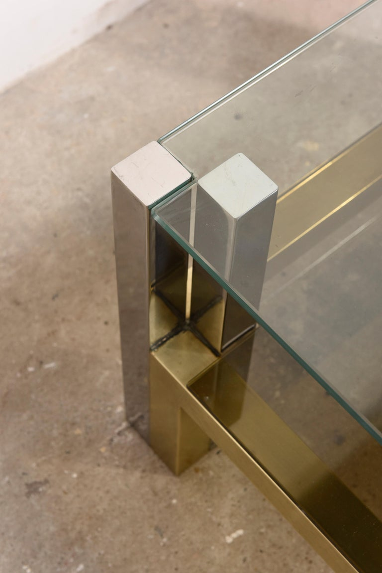 Hollywood Regency Brass Coffee Table by Alfredo Freda for Cittone Oggi, 1970S,Italy For Sale