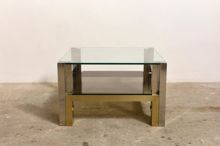 Late 20th Century Brass Coffee Table by Alfredo Freda for Cittone Oggi, 1970S,Italy For Sale