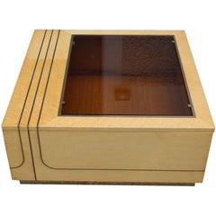 Brass Coffee Table in Brass and Italian Elm Briar 1970 with Door