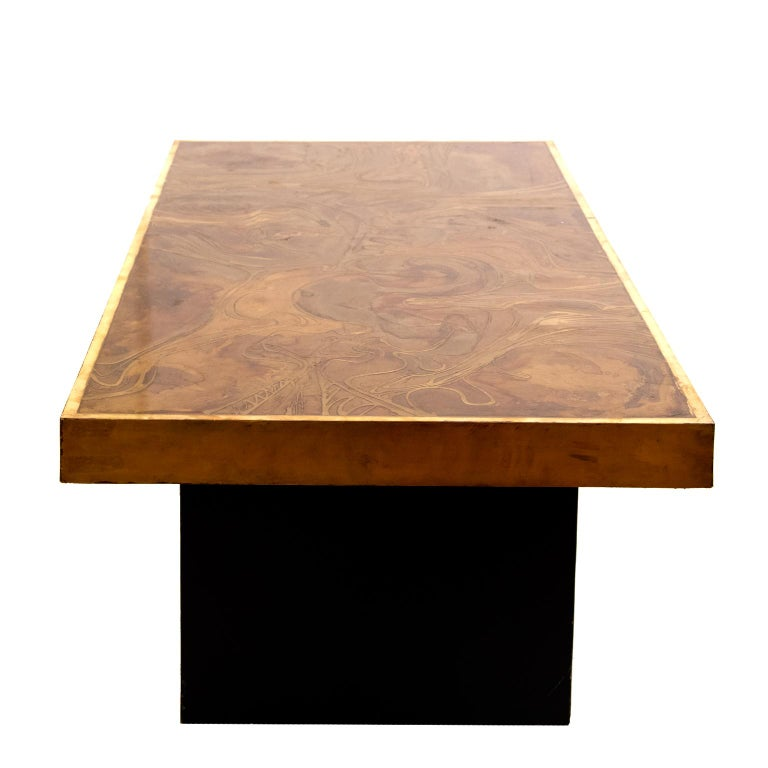 Mid-Century Modern Brass Coffee Table in the Manner of Bernhard Rohne For Sale