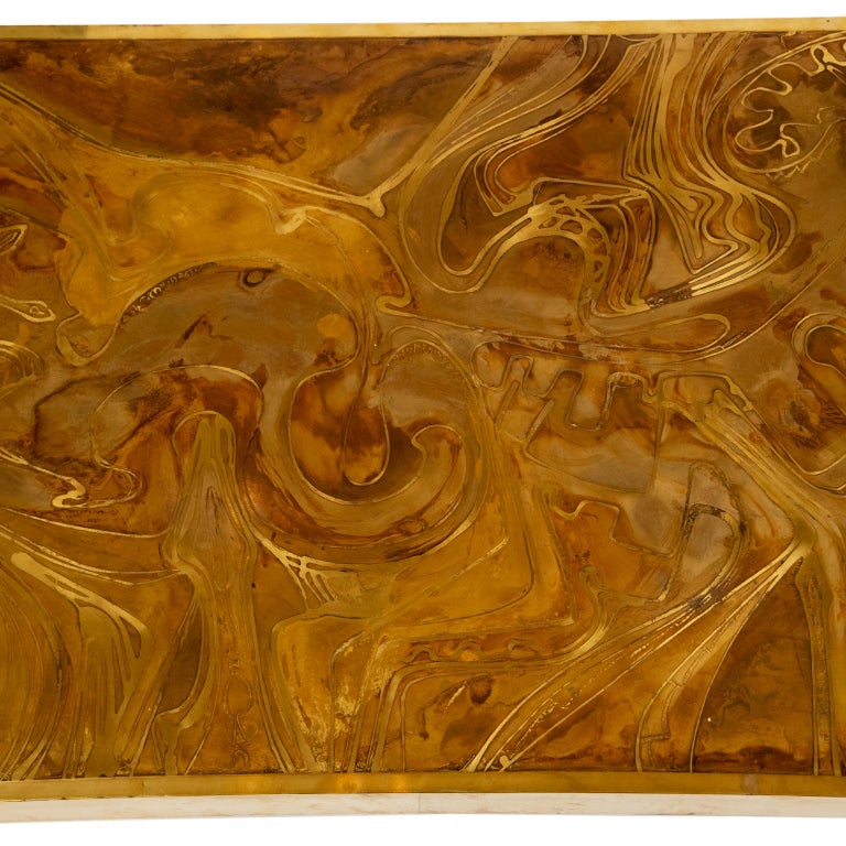 Hand-Crafted Brass Coffee Table in the Manner of Bernhard Rohne For Sale