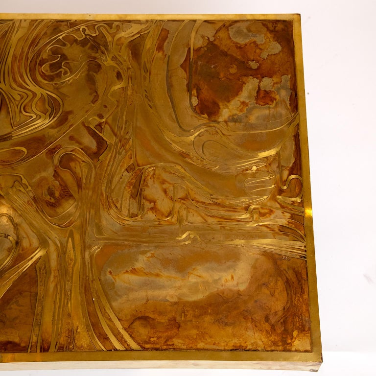 Brass Coffee Table in the Manner of Bernhard Rohne In Good Condition For Sale In Toronto, ON