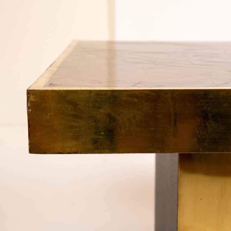 Brass Coffee Table in the Manner of Bernhard Rohne For Sale 1
