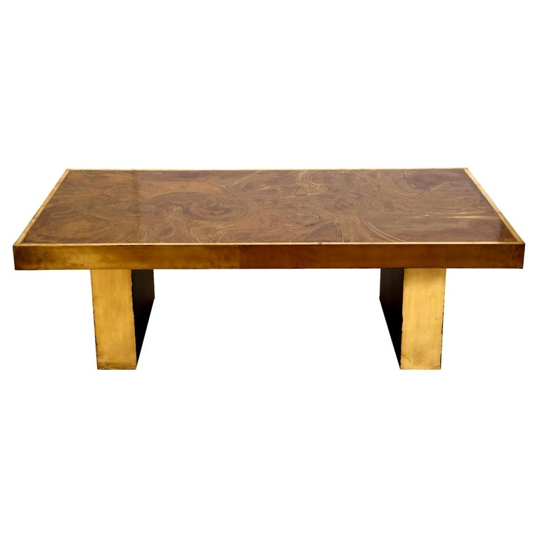 Brass Coffee Table in the Manner of Bernhard Rohne For Sale