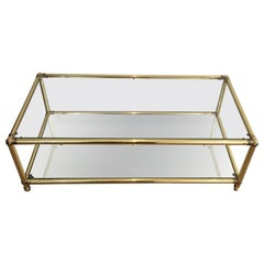 Brass Coffee Table with Brass Noodles on Corners, Clear Glass Shelf on Top and