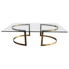 Brass Coffee Table with Glass Top in the Style of LaVerne